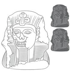 Ancient pharaoh statue of a skull vector