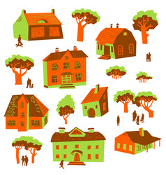 Architecture design elements set of cute vector