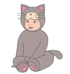Baby in gray cat dress vitage vector