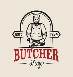 Butcher shop design element for logo label emblem vector