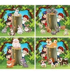 Children and wild animals in the forest vector image