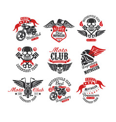Collection of vintage motorcycle emblems original vector