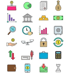 Color finance icons set vector image