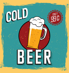 Colorful cold beer poster vector