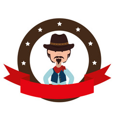 cowboy character wild west icon vector image vector image
