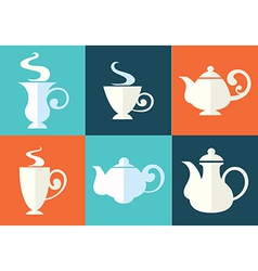 cups and teapots vector image vector image