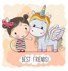 Cute cartoon girl and unicorn vector