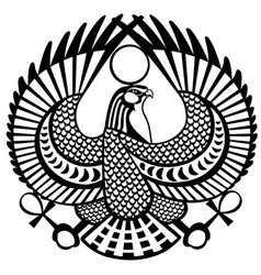 falcon symbol of horus black white vector image