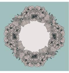Frame made of vintage flowers on teal background vector