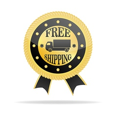 Free shipping golden badge vector