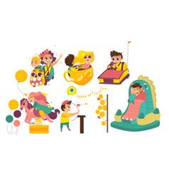 Happy kids enjoying amusement park attaractions vector