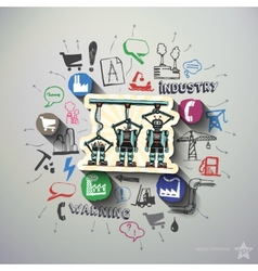 Industry collage with icons background vector