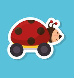 Ladybug with wheels baby toy vector