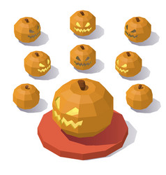 Low poly jack o lantern vector