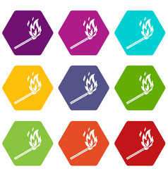 match flame icon set color hexahedron vector image vector image