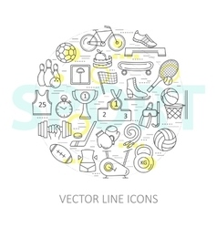Modern thin line of icons on sports themes vector image