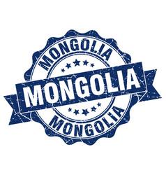 Mongolia round ribbon seal vector