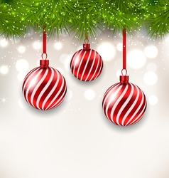 New Year background with glass hanging balls and vector image vector image