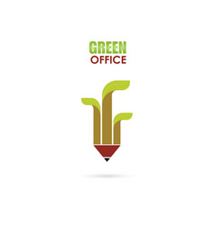 pen or pencil sign and green leafs icon logo vector image