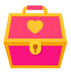 Pink treasure chest for a princess icon vector