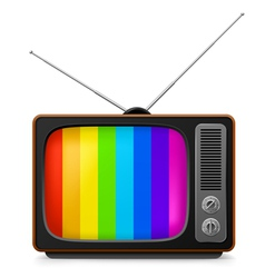 realistic vintage tv with color frame vector image vector image