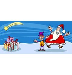 Santa and cristmas elf cartoon card vector image vector image