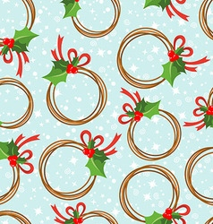 Seamless pattern with a wreath from poinsettia vector image vector image