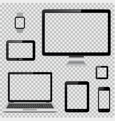 set of realistic computer monitor laptop tablet vector image vector image