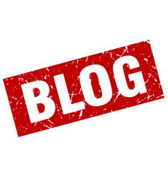 Square grunge red blog stamp vector