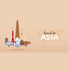 Travel to asia airplane with attractions travel vector