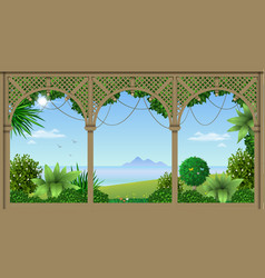 Veranda of a tropical hotel vector