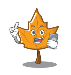 With phone maple character cartoon style vector