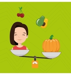 woman cartoon vegetable organic balance vector image