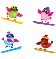 Birds on snouborde vector image