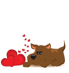 Cute dog with hearts vector