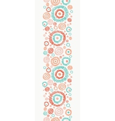 Doodle textured circles vertical seamless pattern vector