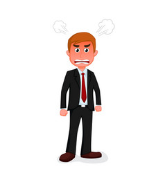 angry businessman cartoon standing vector image