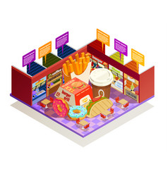 food court interior elements isometric vector image