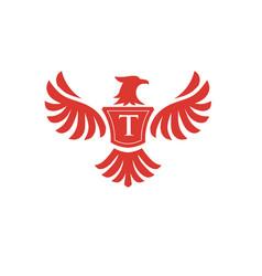 Elegant phoenix with letter t logo vector