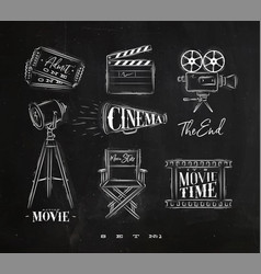 Cinema symbols chalk vector