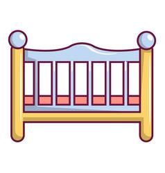 Baby bed icon cartoon style vector