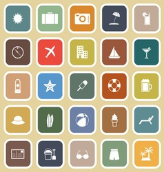 Summer flat icons on brown background vector image