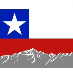 Mountains with flag of chile vector