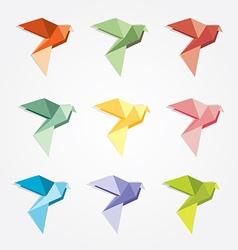 3d origami low polygon birds vector