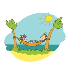 Doodle  beach vacation vector