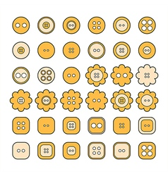 Set of sewing buttons of different shapes vector