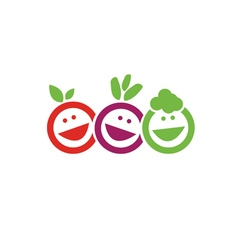 Smile fruits icon vector