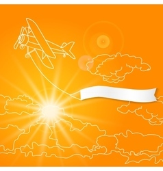 Airplane with blank banner flying in the sunny vector
