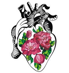 Heart tattoo with roses vector