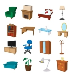 Furniture cartoon icons set vector